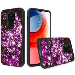 Glitter Printed Design Hybrid Case For Motorola Moto G Play 2021 - Exotic Butterfly
