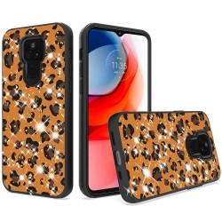 Glitter Printed Design Hybrid Case For Motorola Moto G Play 2021 - Leopard