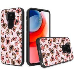 Glitter Printed Design Hybrid Case For Motorola Moto G Play 2021 - Pink Animal