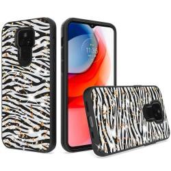 Glitter Printed Design Hybrid Case For Motorola Moto G Play 2021 - Zebra