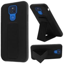 Foldable Magnetic Kickstand Vegan Case For Motorola Moto G Play 2021 - Black