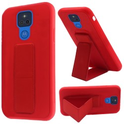Foldable Magnetic Kickstand Vegan Case For Motorola Moto G Play 2021 - Red