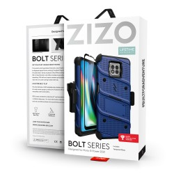 ZIZO BOLT SERIES MOTO G POWER (2021) CASE WITH TEMPERED GLASS - BLUE & BLACK
