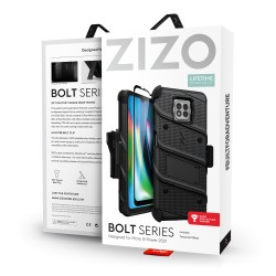 ZIZO BOLT SERIES MOTO G POWER (2021) CASE WITH TEMPERED GLASS - BLACK & BLACK