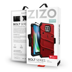 ZIZO BOLT SERIES MOTO G POWER (2021) CASE WITH TEMPERED GLASS - RED & BLACK