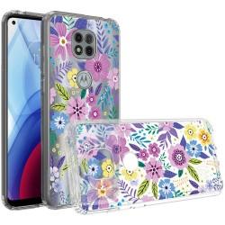 Design Transparent Bumper Hybrid Case for Motorola Moto G Power 2021 - Colorful Flower Arrangement