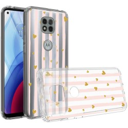 Design Transparent Bumper Hybrid Case for Motorola Moto G Power 2021 - Gold Love Stripes