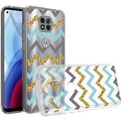 Design Transparent Bumper Hybrid Case for Motorola Moto G Power 2021 - Teal Gold ZigZag