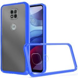 Clear Transparent Hybrid Case for Motorola Moto G Power 2021 - Clear PC + Blue TPU