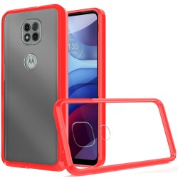 Clear Transparent Hybrid Case for Motorola Moto G Power 2021 - Clear PC + Red TPU