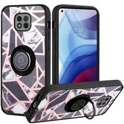 Unique IMD Design Magnetic Ring Stand Case for Motorola Moto G Power 2021 - Fancy Marble on Black