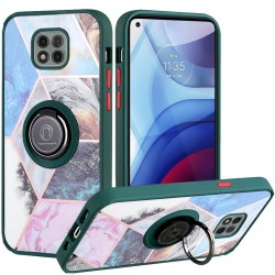 Unique IMD Design Magnetic Ring Stand Case for Motorola Moto G Power 2021 - Galaxy Marble on Green