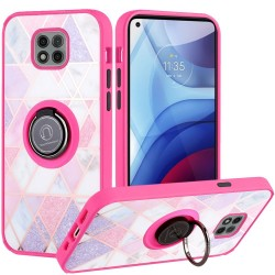 Unique IMD Design Magnetic Ring Stand Case for Motorola Moto G Power 2021 -  Mesh Marble on Pink