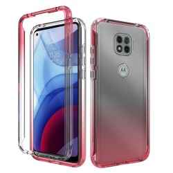 Two Tone Transparent Shockproof Case for Motorola Moto G Power 2021 - Red