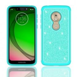 Hybrid Glister Bling Shock Proof Case, Teal For Motorola G7play