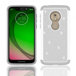 Hybrid Glister Bling Shock Proof Case, Gray For Motorola G7play