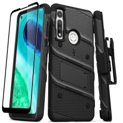 ZIZO BOLT SERIES MOTO G FAST CASE WITH TEMPERED GLASS - BLACK & BLACK