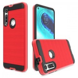 HYBRID TEXTURE BRUSHED METAL CASE, FOR MOTO G FAST - RED