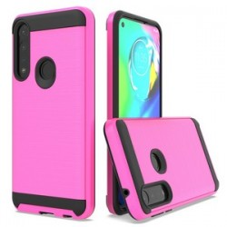 HYBRID TEXTURE BRUSHED METAL CASE, FOR MOTO G FAST - PINK