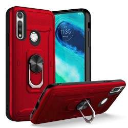 Champion Magnetic Metal Ring Stand 360 degree Rotation Cover - for Moto G Fast - Red
