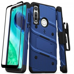 ZIZO BOLT SERIES MOTO G FAST CASE WITH TEMPERED GLASS - BLUE & BLACK