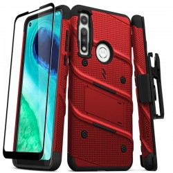 ZIZO BOLT SERIES MOTO G FAST CASE WITH TEMPERED GLASS - RED & BLACK