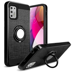 Magnetic Ring Kickstand Hybrid Case For Moto G Stylus 2021 - Black