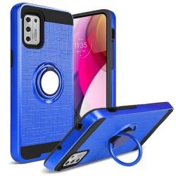 Magnetic Ring Kickstand Hybrid Case For Moto G Stylus 2021 - Blue