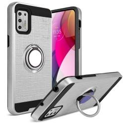 Magnetic Ring Kickstand Hybrid Case For Moto G Stylus 2021 - Silver