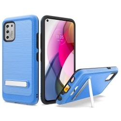 Slim Brushed Hybrid with Design Edged Lining with magnetic kickstand For Moto G Stylus 2021 - Blue