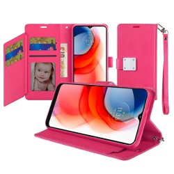Wallet ID Card Holder Case For Moto G Stylus 2021 - Hot Pink