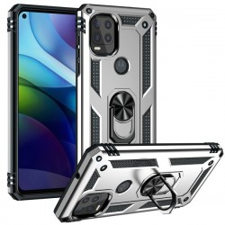 Motorola 5G G Stylus Heavy Duty Ring Stand Cases - Silver