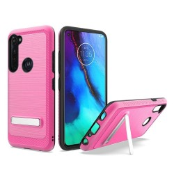 Brushed Metallic Case W/ Edge and Kickstands For Moto G Stylus - Pink