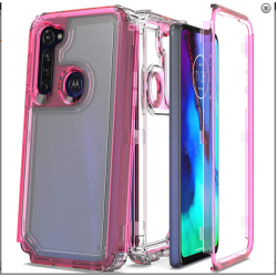 3-IN-1 HEAVY DUTY TRANSPARENT CASE FOR MOTO G STYLUS - HOT PINK