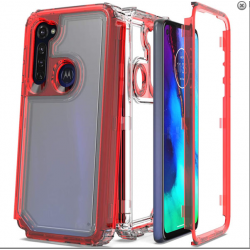 3-IN-1 HEAVY DUTY TRANSPARENT CASE FOR MOTO G STYLUS - RED