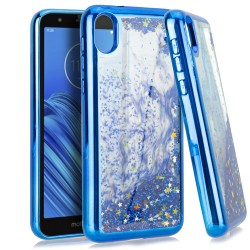 CHROME Glitter Motion Case Blue For Motorola E6