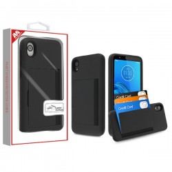 Black/Black Poket Hybrid Protector Cover (with Back Film)(with Package) For Motorola E6
