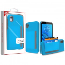 Blue/Gray Poket Hybrid Protector Cover (with Back Film)(with Package) For Motorola E6