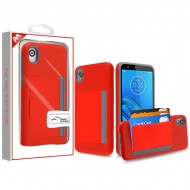Red/Gray Poket Hybrid Protector Cover (with Back Film)(with Package) For Motorola E6