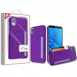 Purple/Light Purple Poket Hybrid Protector Cover (with Back Film)(with Package) For Motorola E6