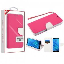 Hot Pink Pattern/White Liner MyJacket Wallet Crossgrain Series(842) -WP For Motorola E6