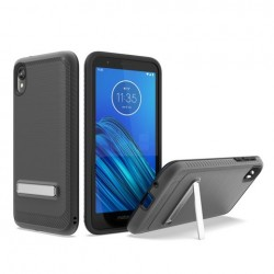 Brushed Metallic Case W/ Edge and Kickstands Black For Motorola E6