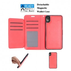 Luxurious Magnetic Wallet with Retail Package, Red For Motorola E6