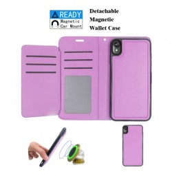 Luxurious Magnetic Wallet with Retail Package, Purple For Motorola E6