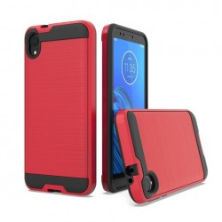 Hybrid Texture Brushed Metal case, Red For Motorola E6