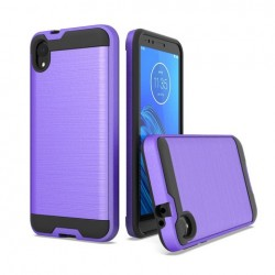 Hybrid Texture Brushed Metal case, Purple For Motorola E6