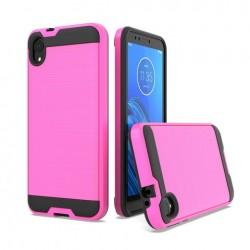 Hybrid Texture Brushed Metal case, Hot Pink For Motorola E6