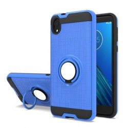 Metalic Brush Metal Case Hybrid with Ring Stands Blue For Motorola E6