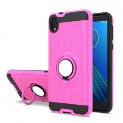 Metalic Brush Metal Case Hybrid with Ring Stands Pink For Motorola E6