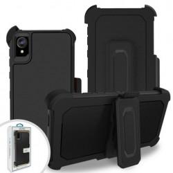 Premium Hybrid Triple Combo Holster, Black For Motorola E6